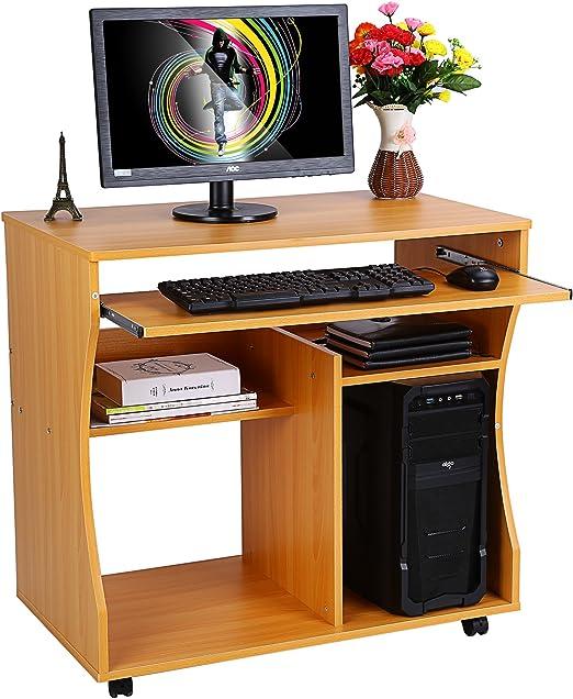 GOTOTOP Escritorio Informática Ordenador PC Mueble con Ruedas Mesa ...