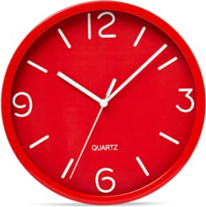Bernhard Products Red Wall Clock 8 Inch Silent Non Ticking, Quality Quartz Battery Operated Small Round Easy to Read for Kitchen Home Office Bedroom Bathroom Decorative Clocks (Red)