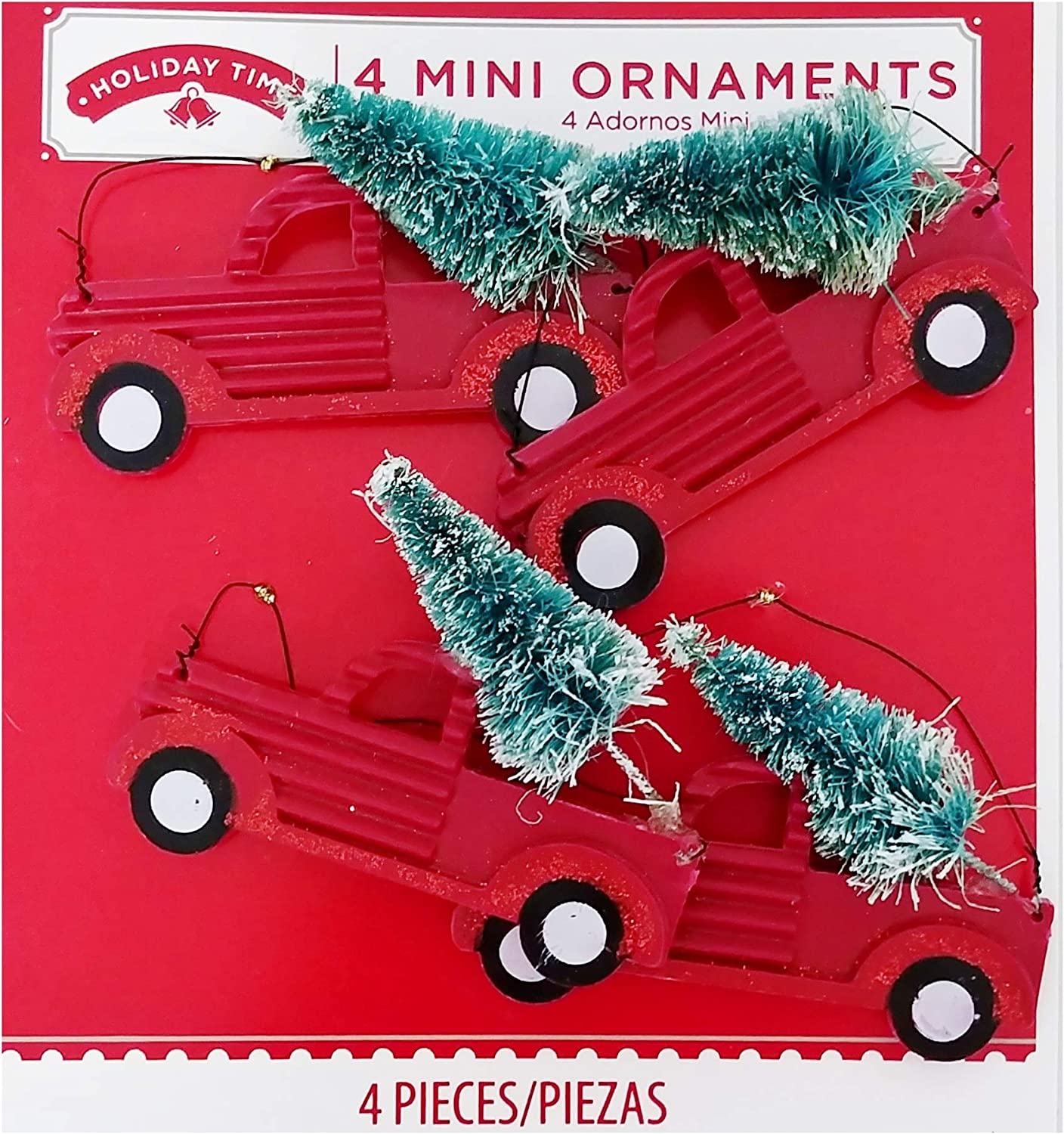 A&TDesigns Set of 4 Classic Holiday Mini Red Pickup Truck Christmas Ornaments - Rustic Farmhouse