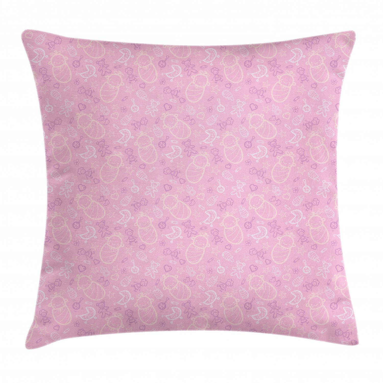 Lunarable Baby Pink Throw Pillow Cushion Cover, Nursery Arrangement with Hearts and Toys Sketch, Decorative Square Accent Pillow Case, 40'' X 40'', Baby Pink Pastel Purple Champagne and White by Lunarable