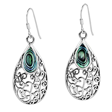 9b5e2c837 Amazon.com: Filigree Vines Oval Abalone Shell Inlay .925 Sterling ...
