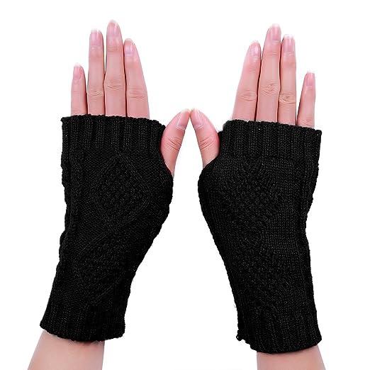f00338b2c97 HDE Women s Fingerless Gloves Crochet Cable Knit Wrist