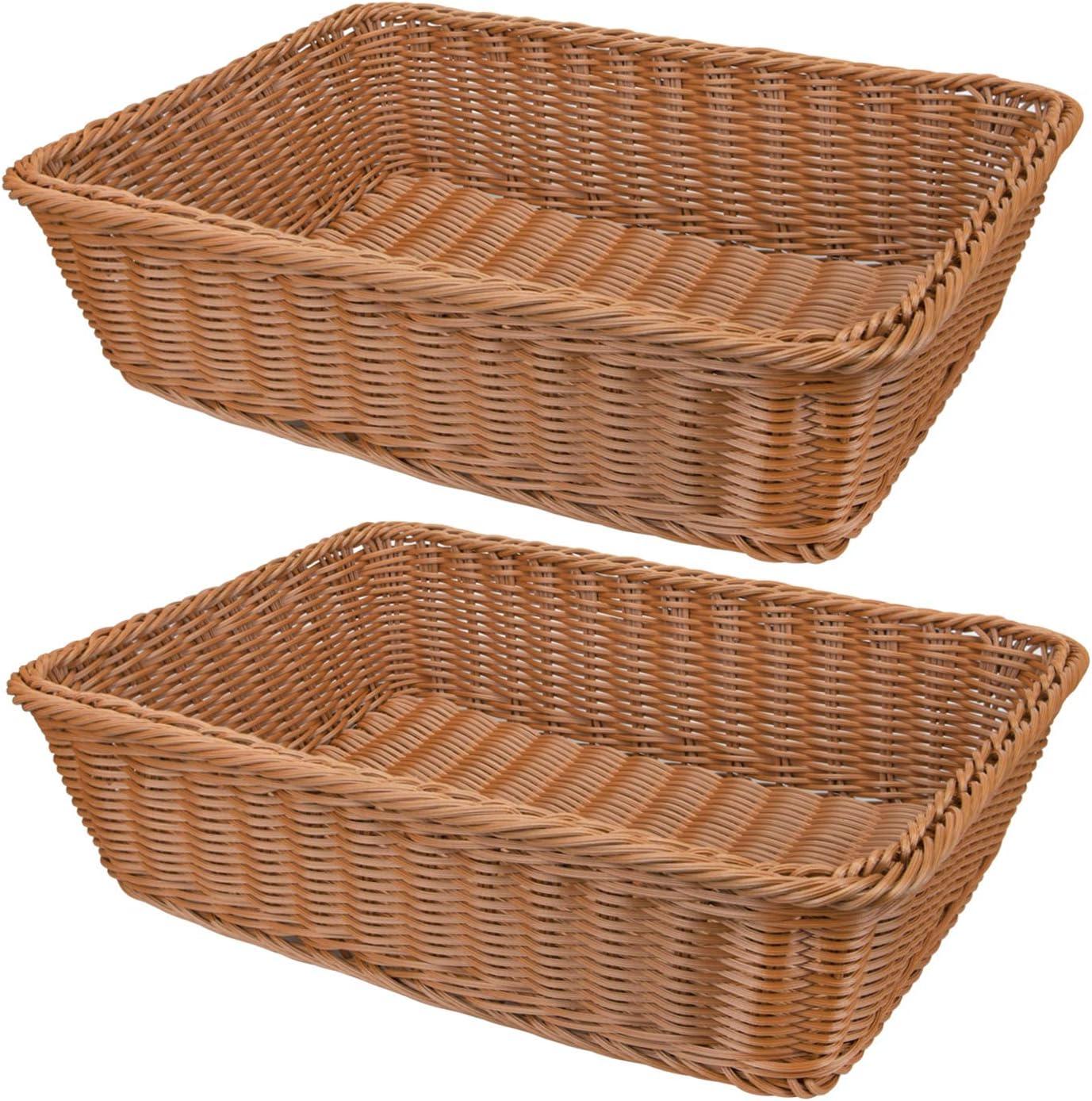 Yarlung 2 Pack Imitation Rattan Woven Bread Basket, 15.7 Inch Poly-Wicker Food Serving Basket for Fruit, Vegetables, Home Kitchen, Restaurant, Outdoor, Brown Rectangular