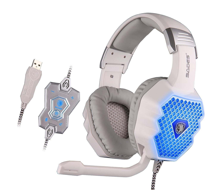 Auriculares gaming Sades Pro para ordenador, con diadema, iluminación LED, sonido envolvente y control de volumen (para PC): Amazon.es: Electrónica