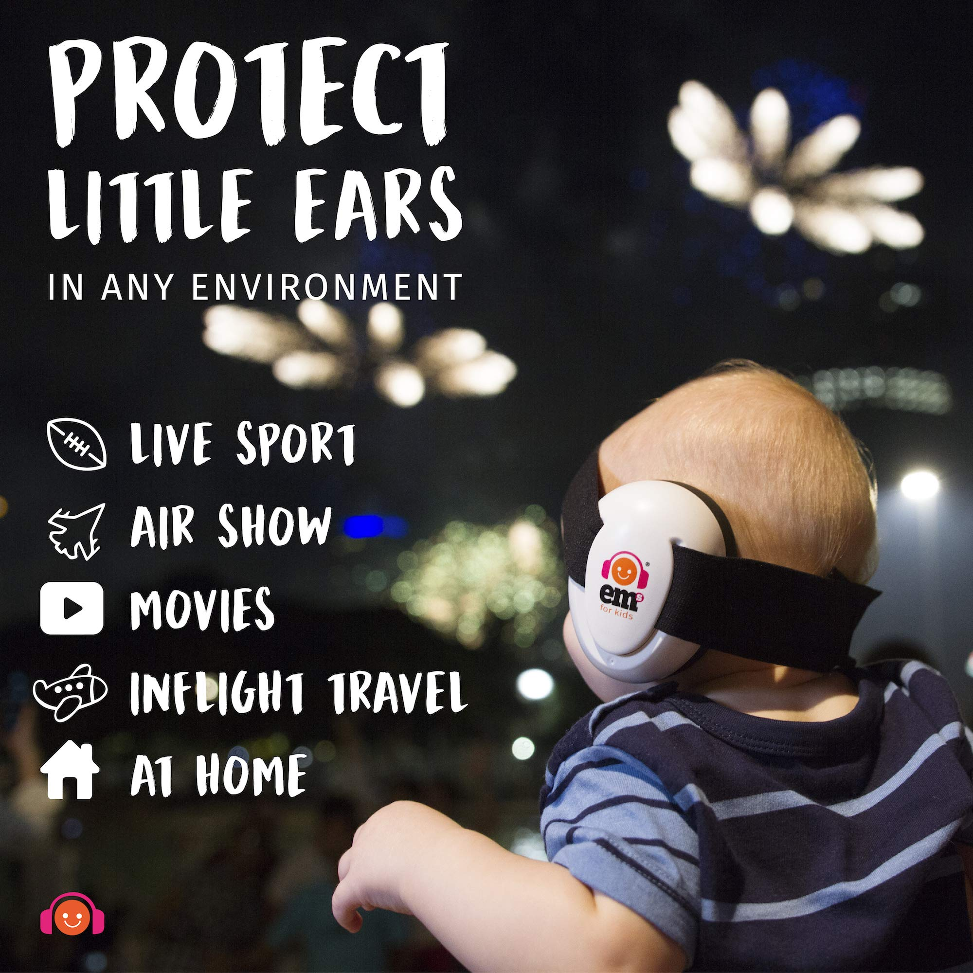 EMS for Kids Baby Earmuffs - White with Stars n Stripes. The Original Baby Earmuffs, Now Made in The USA. Great for Concerts, Music Festivals, Planes, NASCAR, Motor Racing, Power Tools and More! by Ems for Kids (Image #7)
