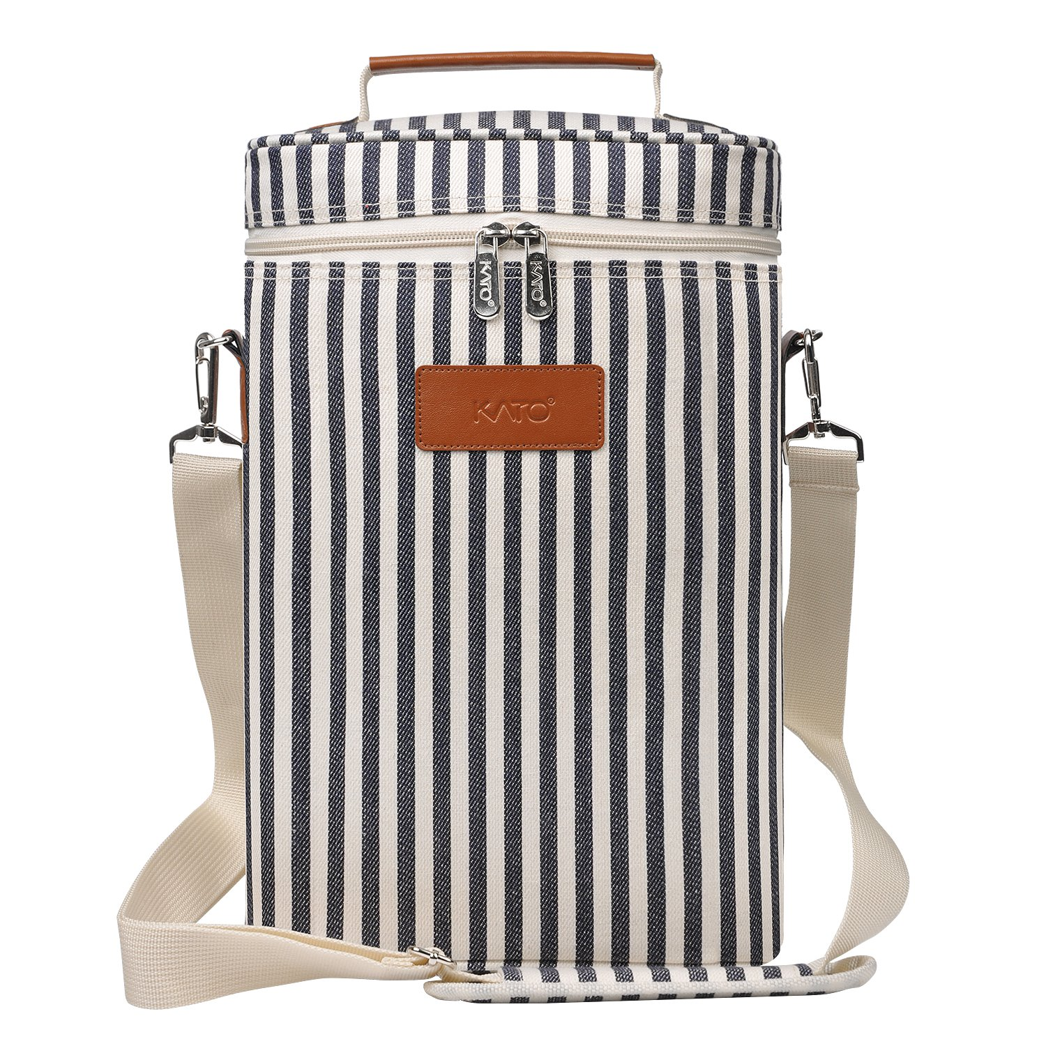 Kato Insulated Wine Tote Carrier - 2 Bottle Travel Padded Wine Cooler Bag with Handle and Adjustable Shoulder Strap, Great Wine Lover Gift, Stripe