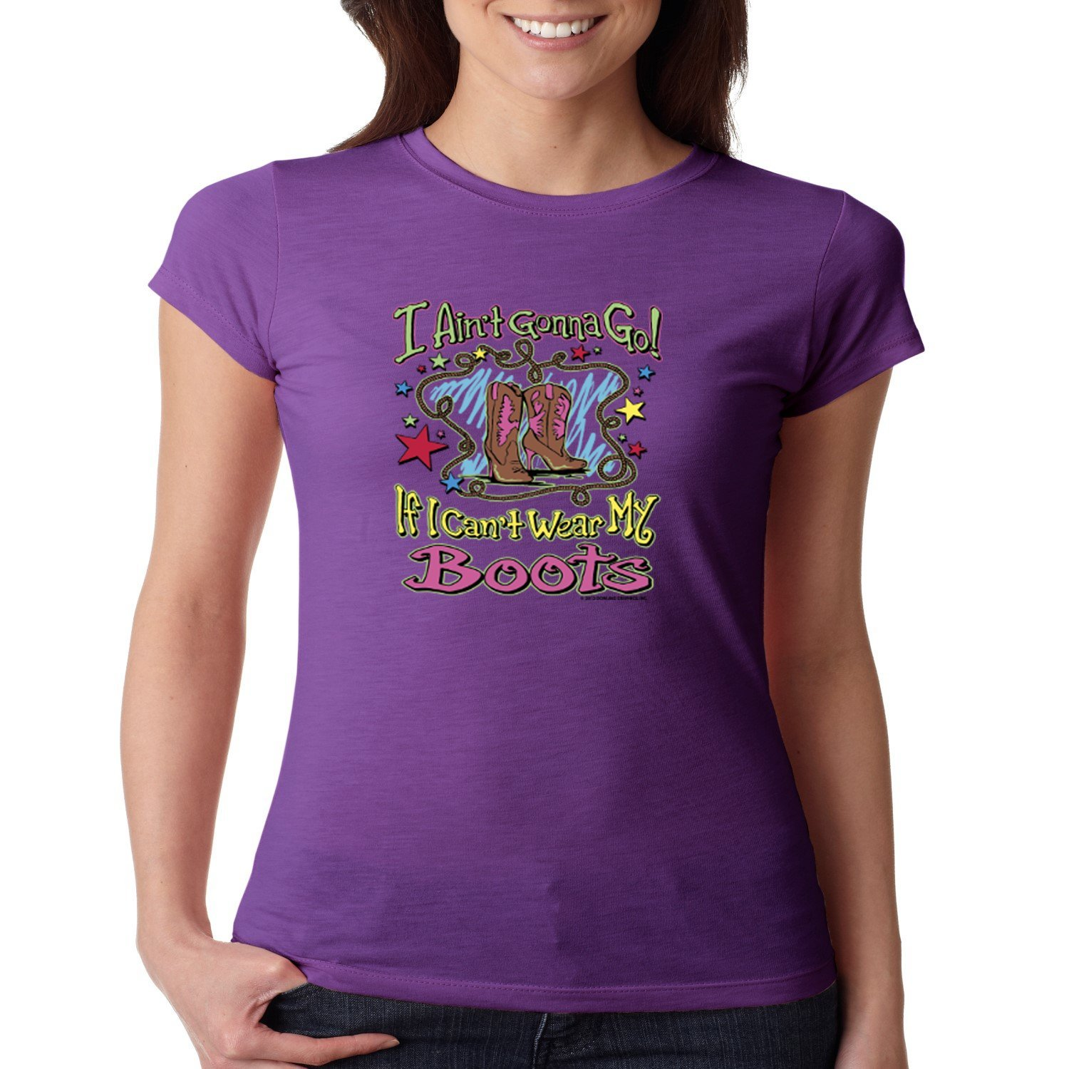 Sassy Chicks Juniors Fitted Shirt Wear My Boots (Purple, 2XL)