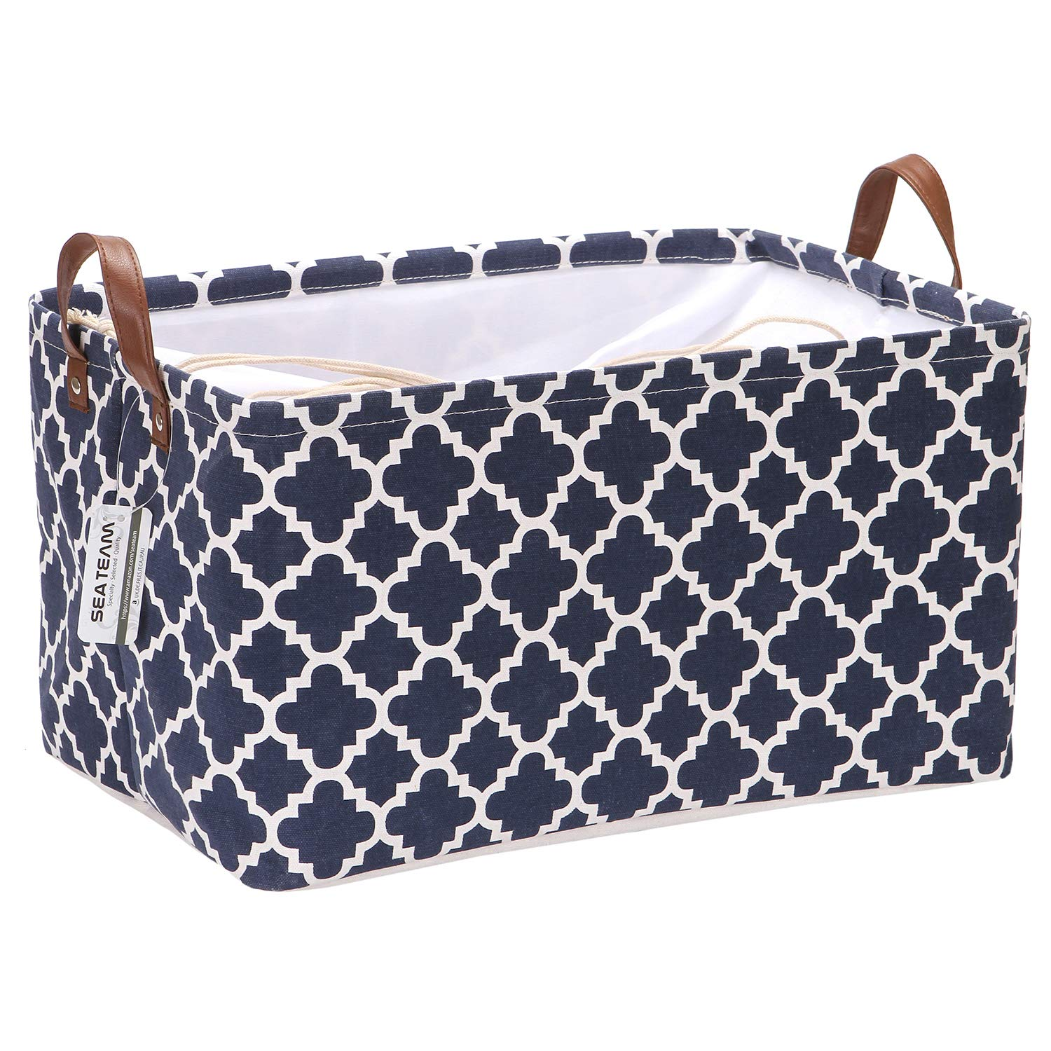 Sea Team Moroccan Lattice Pattern Canvas Fabric Storage Basket Collapsible Geometric Design Storage Bin with Drawstring Cover and PU Leather Handles, 16.5 by 11.8 inches, Waterproof Inner, Dark Blue