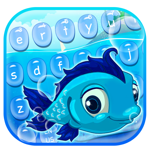 Cute Blue Magical Fish Keyboard Theme