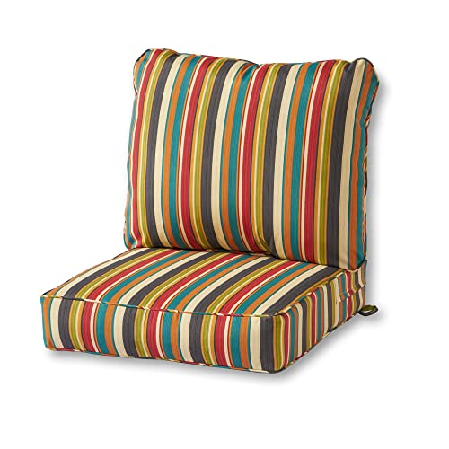 Greendale Home Fashions OC7820-SUNSET Deep Seat Set Outdoor Lounge Chair Cushions, Sunset Stripe