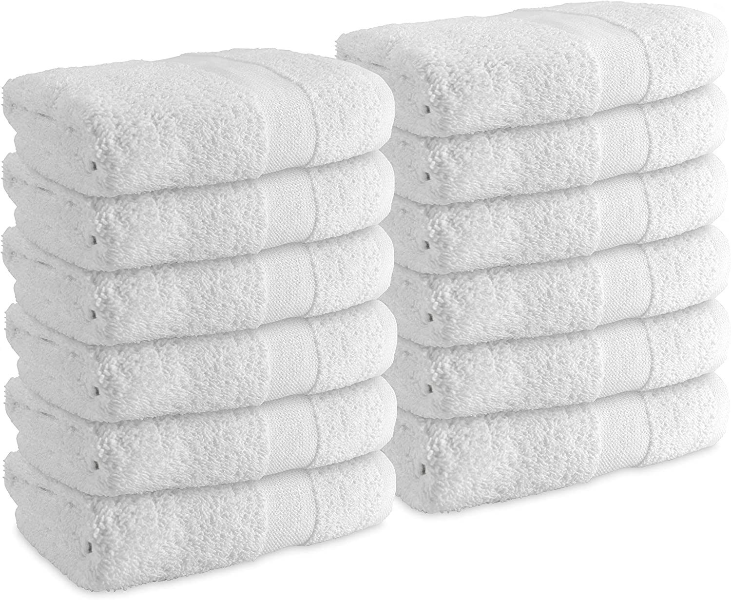 Arkwright Admiral White Hand Towels for Bathroom (16 x 27 in, 12-Pack) - for Bathroom, spa, Kitchen