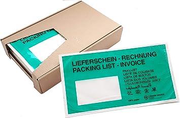 Dokumententaschen /ökologisch aus Papier 100/% recylingf/ähig 250 St/ück DIN-lang,Lieferschein//Rechnung; Hafttaschen Gr/ün