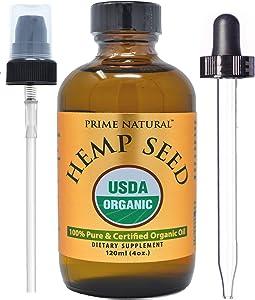 Organic Hemp Seed Oil - 4oz USDA Certified - Sativa Oil - Pure, Cold Pressed, Virgin, Unrefined, Vegan, Non-GMO, Food Grade, No Preservatives - High Omega 3 6 9 Fatty Acids, for Joints, Skin, Hair