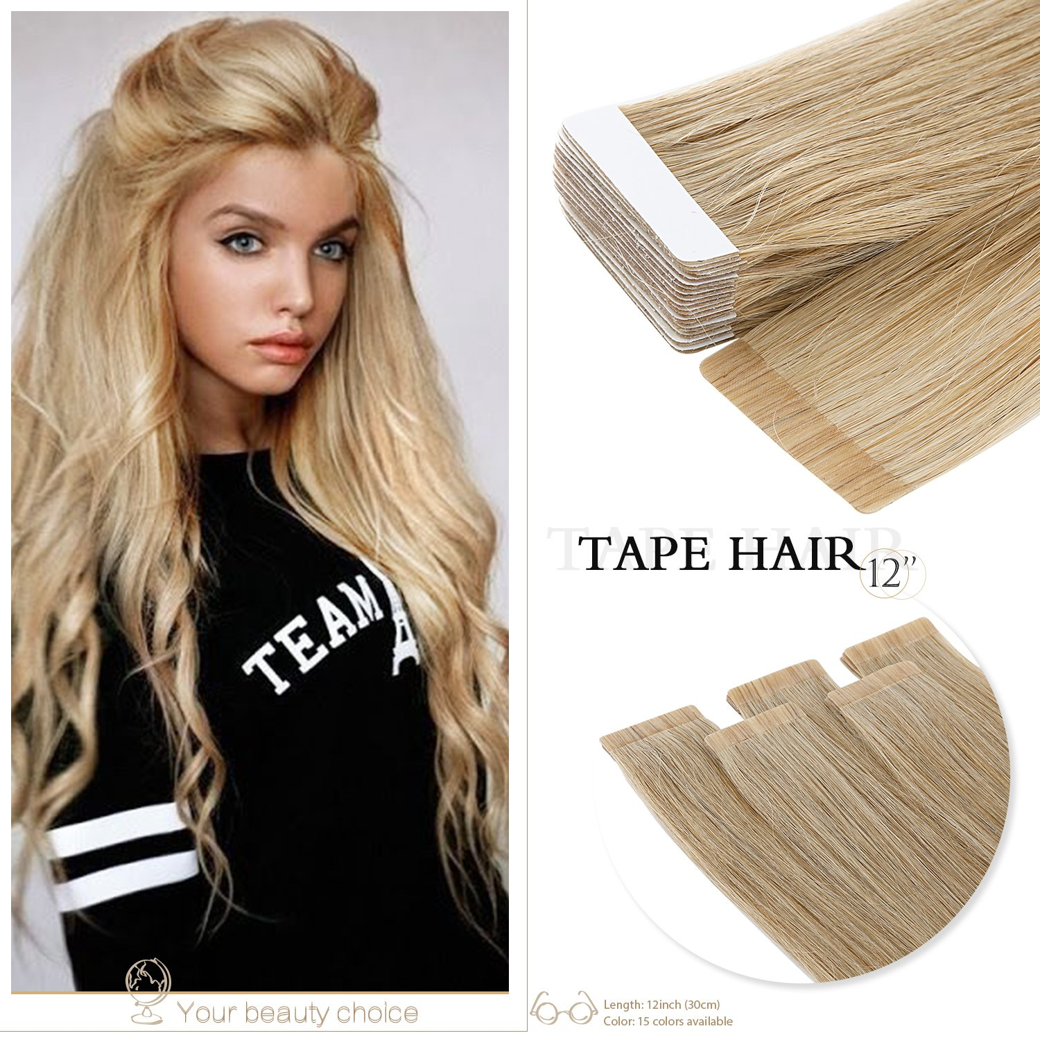 Neitsi 6A 20pcs/lot 12 25g Straight Tape in Real Human Hair Extensions (2#) LTD