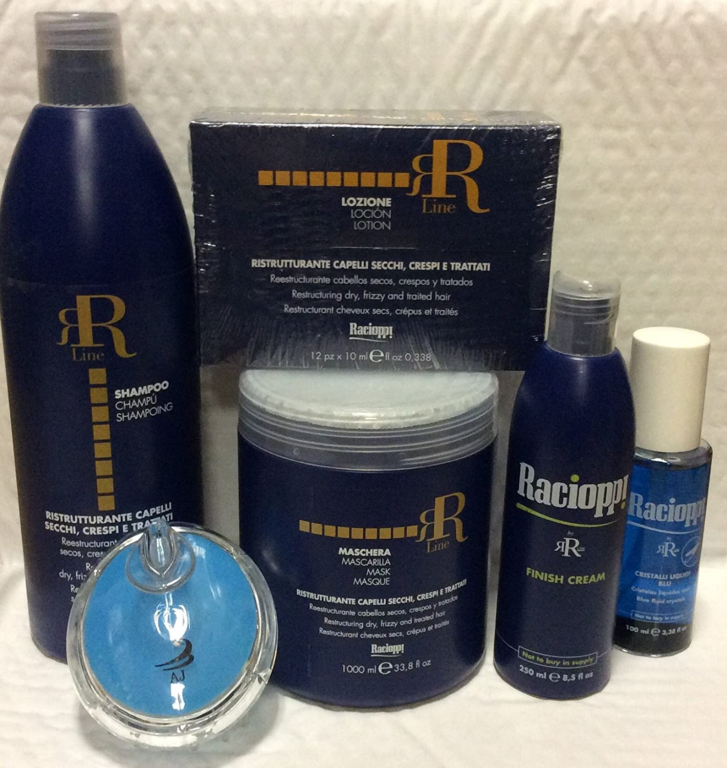 Amazon.com: Rr Line Racioppi Bundle for Damage Hair: Shampoo Restructuring 33.8 Oz, AJ shampoo Brush,Mask 33.8 Oz, Restructuring Lotion Vials, ...