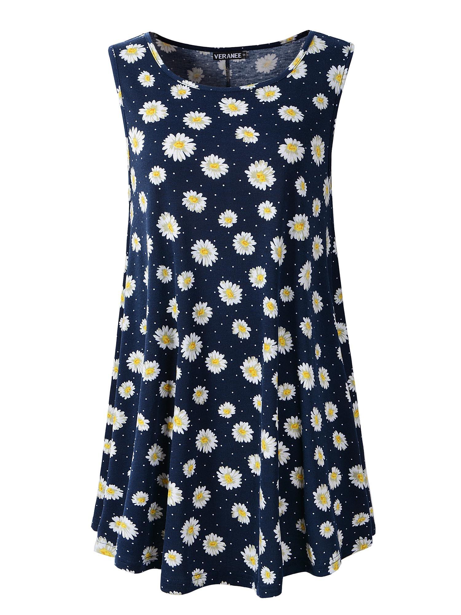 Veranee Women's Sleeveless Swing Tunic Summer Floral Flare Tank Top (M, 6-6)