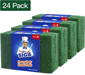 MR.SIGA Heavy Duty Scouring Pads, Household Scrubber for Kitchen, Sink, Dish, 24-Pack, 3.9 x 5.9 inch (10 x 15 cm), Green