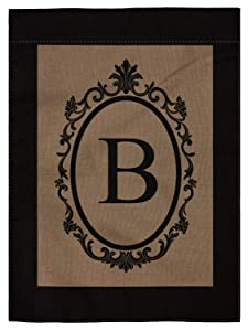 "pingpi B Monogram Double-Sided Burlap Garden Flag - 12.5"" W x 18"" H"