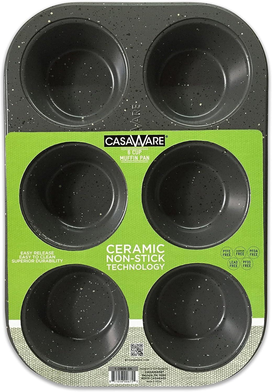 casaWare Toaster Oven 6 Cup Muffin Pan NonStick Ceramic Coated (Silver Granite)