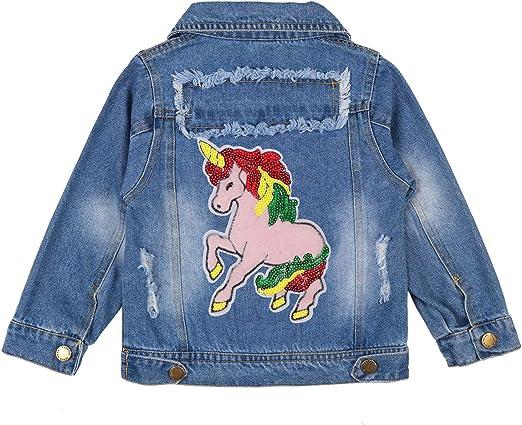 Unicorn Gift Rainbow Unicorn Jean Jacket for Girls Toddler /& Kids Denim Jacket with Embroidery Rainbow /& Unicorn