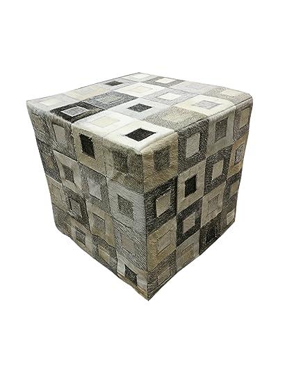 Zerimar Puff di pelle di mucca Misure: 45x45 cms Sgabello cubo ...