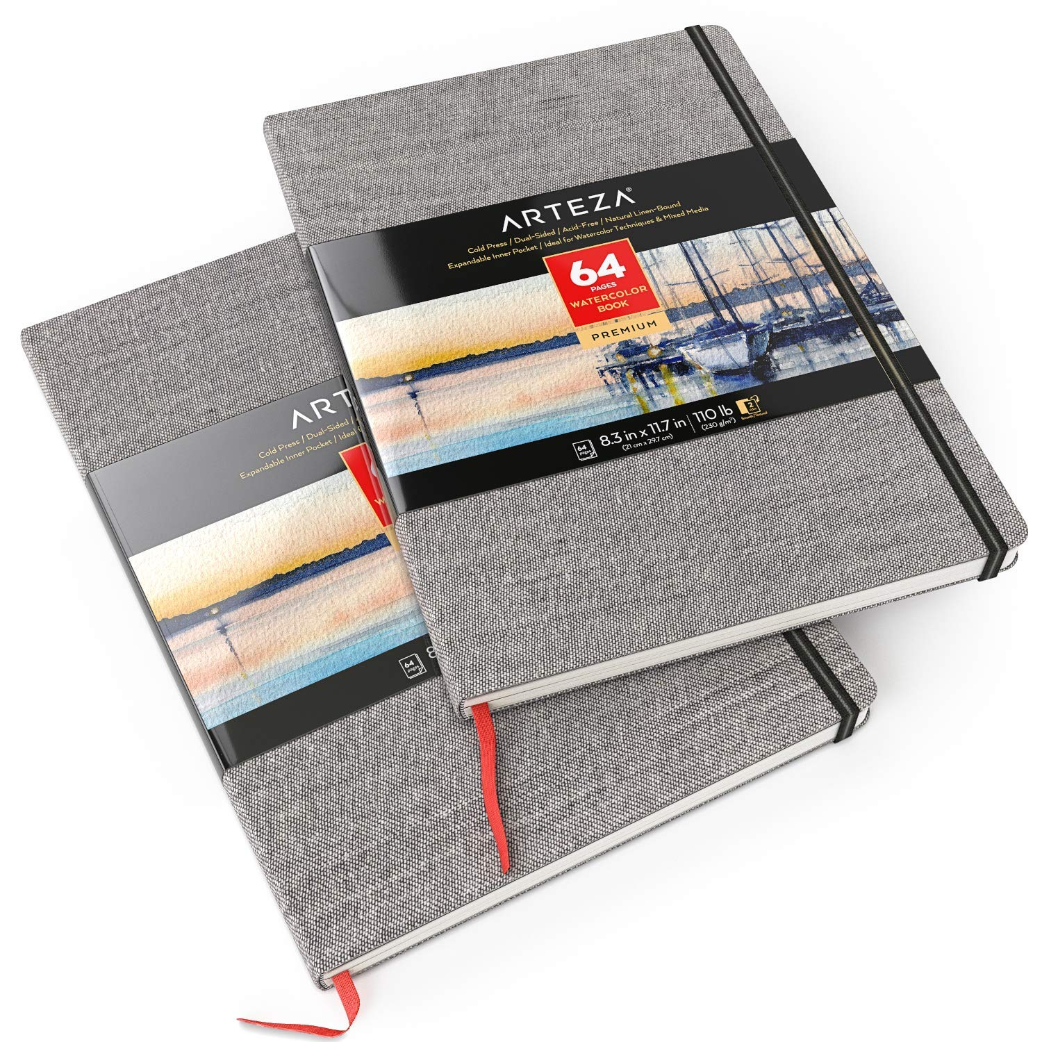 ARTEZA 8.3x11.7'' Watercolor Book, Pack of 2 Watercolor Sketchbooks, 64 Sheets per Pad, 110lb/230gsm, Linen Bound with Bookmark Ribbon and Elastic Strap, for Watercolor Techniques and Mixed Media by ARTEZA (Image #1)