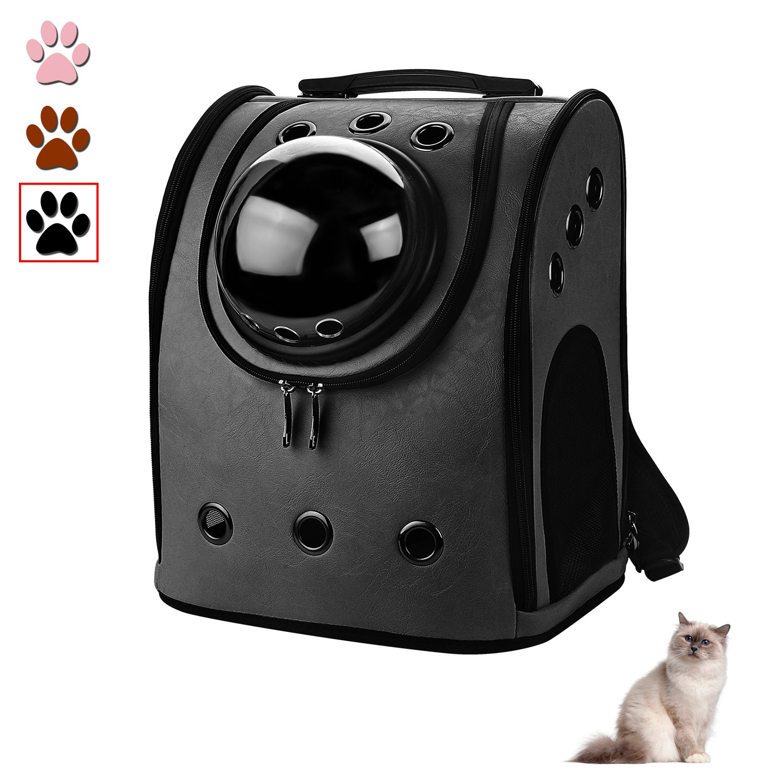 Blitzwolf Pet Outdoor Exercise Space Capsule Leather Carrier Backpack, Anzone Bubble Window Bag for Cats Small Dogs & Petite Animals PU Black