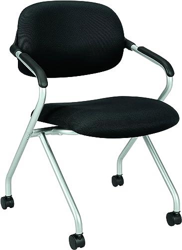 HON basyx Vl303 Mesh Back Nesting Arm Chair, Black Silver