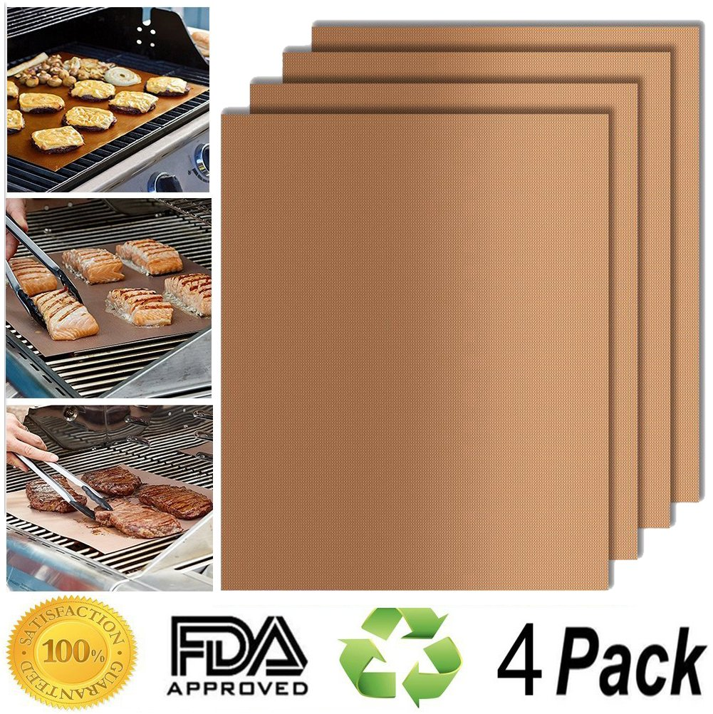 [4 Pack] BBQ Grill Mats, Systonic Non-Stick Reusable and Heat Resistant BBQ Oven Liner Baking Mat [Easy to Clean] Perfect for Charcoal, Electric and Gas Grill Coffee