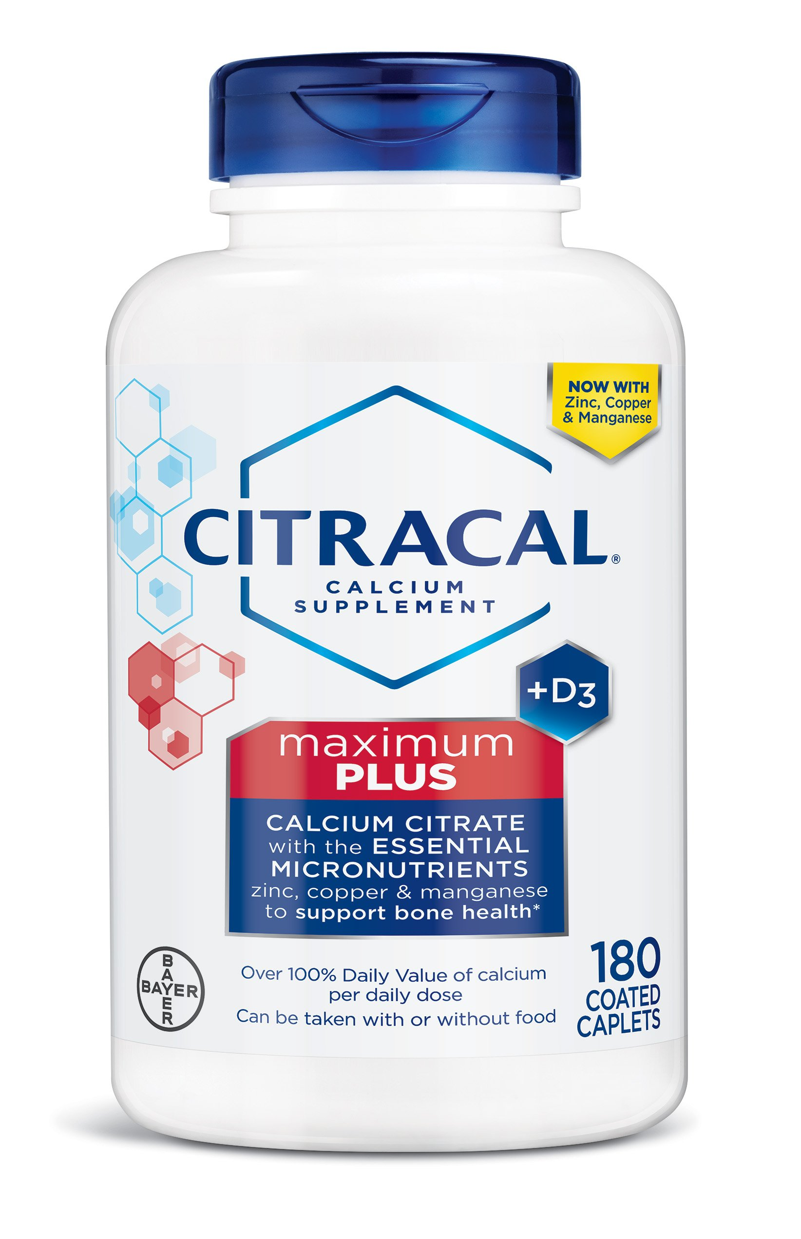 Citracal Maximum Plus, Highly Soluble, Easily Digested, 630 mg Calcium Citrate With 500 IU Vitamin D3, Bone Health Supplement for Adults, Caplets, 180 Count