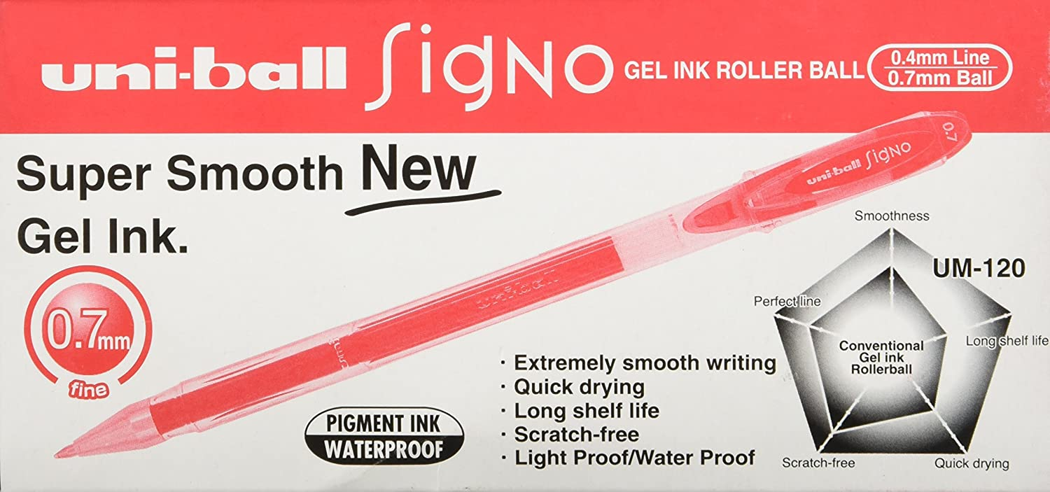 Uni-Ball Signo UM120 B Roller Encre Gel 0,7 mm Bleu Lot de 12
