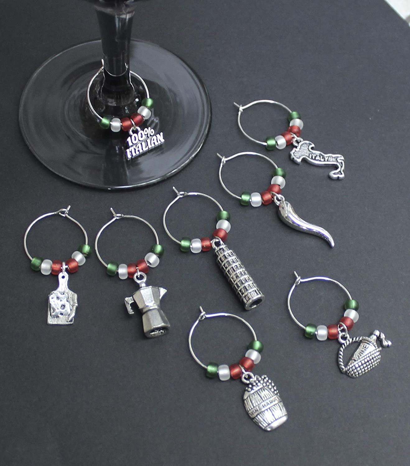 Italian Theme Wine Glass Charms-Set of 8-ITALY002-8