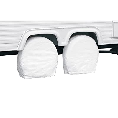 "Classic Accessories RV & Trailer Wheel Covers 21""-24"" Diameter, 8.25"" Wide, White, Set of Two: Automotive"