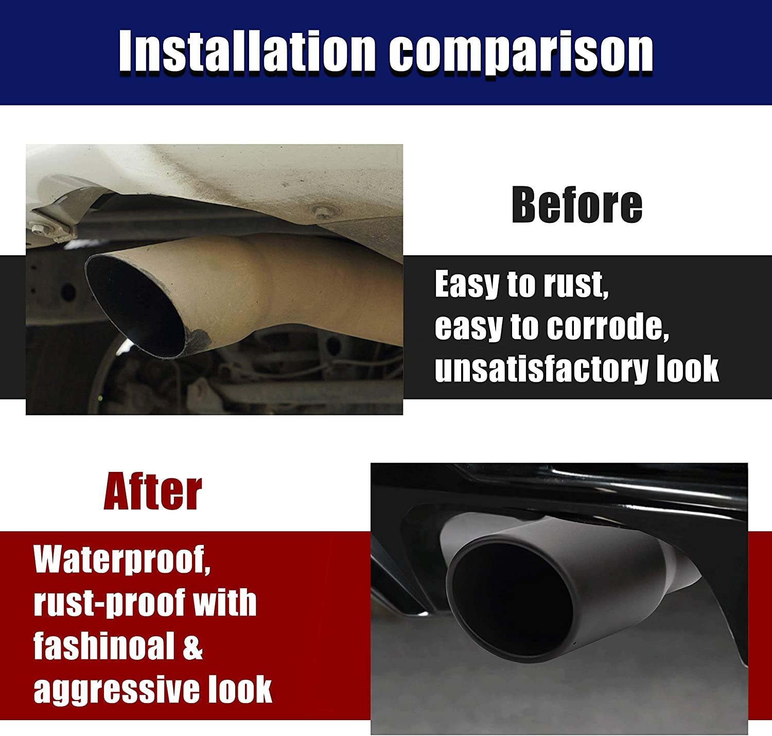 Black Diesel Exhaust Tip 4 to 6,Rolled Angle Cut TailTip 12 Long,4x6x12 Bolt//Clamp On Design