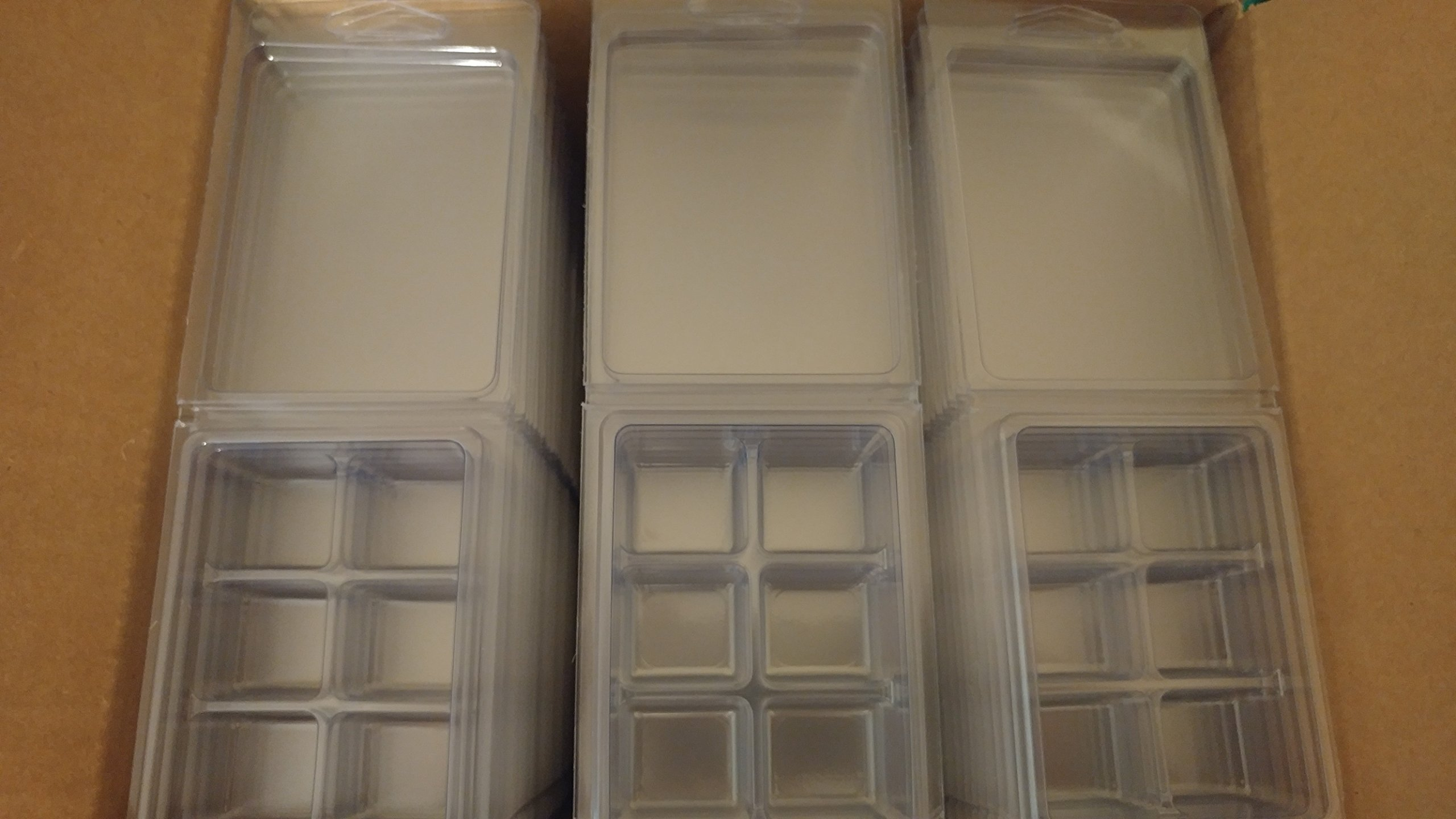 Wax Tart Clamshell Mold - 6 Cavity / Cubes per Package - 100 Pack Clear Plastic / PVC - FREE Fragrance Sample