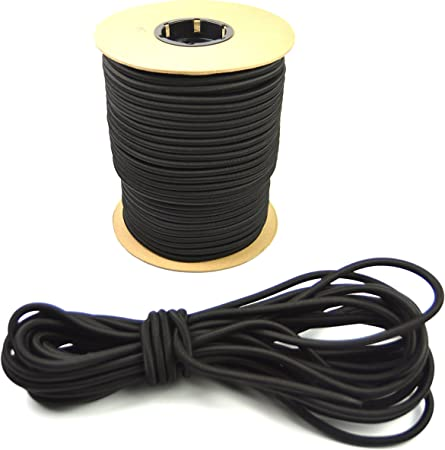 "USA 1//8/"" x 500/' Bungee Cord Shock Cord Bungie Cord Marine Grade Stretch Cord BLK"