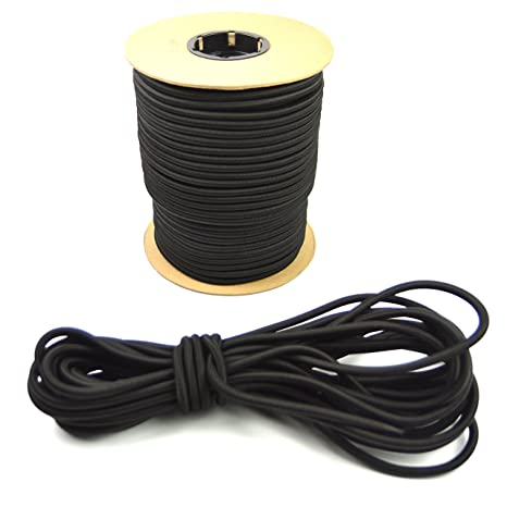 3//16 Inch, 50 Feet Diamond Weave Shock Cord Black Elastic Bungee Cord Replacement