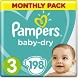 Pampers Baby-Dry Size 3, 198 Nappies, (6-10/5-9 kg), Air Channels for Breathable Dryness Overnight, Monthly Pack