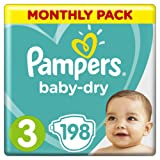 Pampers Baby-Dry Size 3, 198 Nappies, 6-10 kg, Air Channels for Breathable Dryness Overnight, Monthly Pack