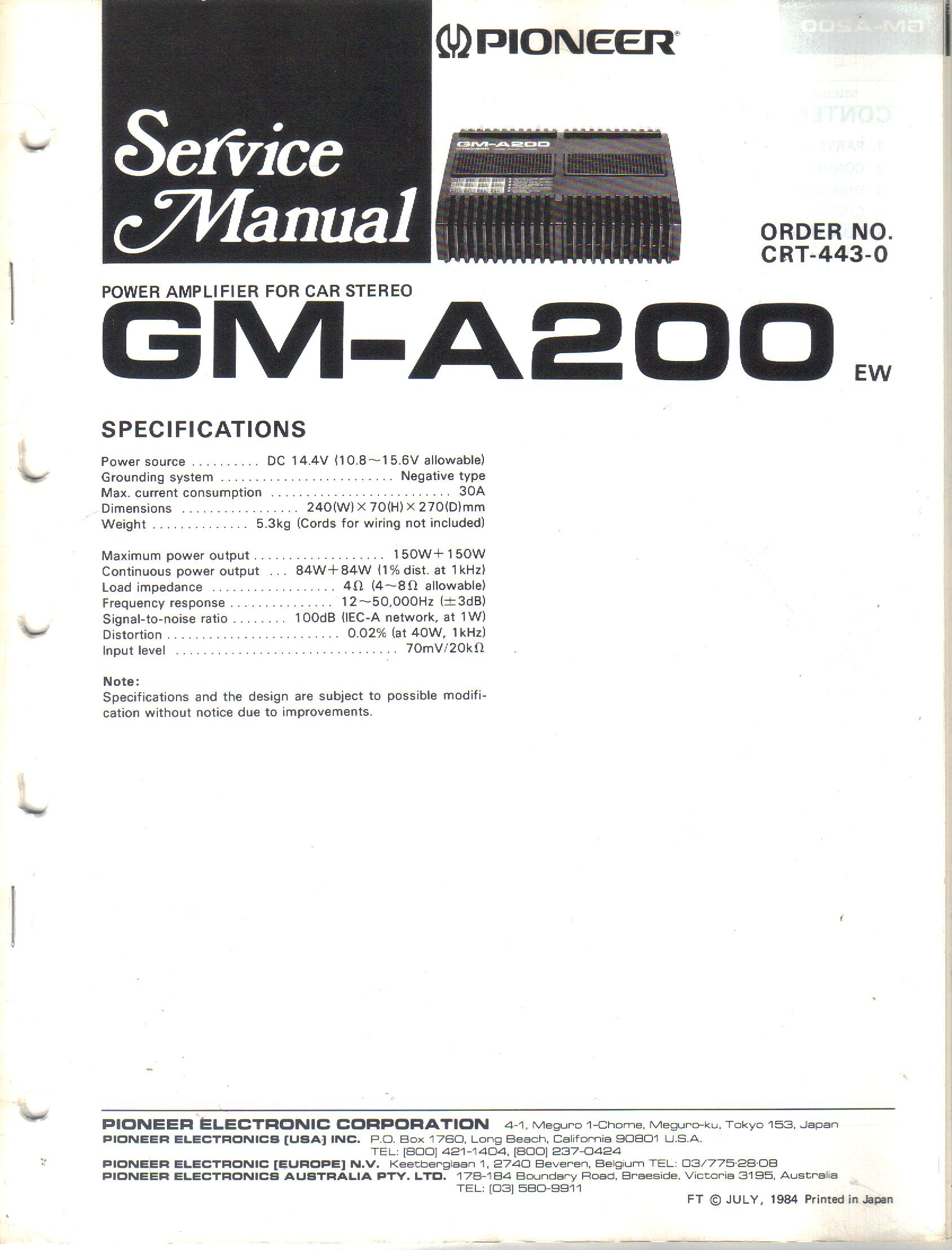 Pioneer Gm A200 Power Amplifier For Car Stereo Service Manual Cd Wiring Diagram Parts List Schematic Electronic Corp Not Stated Books
