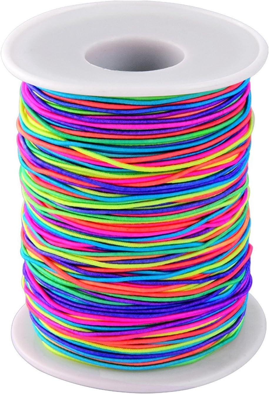 ToWinle - Cordón elástico para abalorios de hilo de perlas de color arco iris, 100 m, cuerda de nailon con 1 mm de diámetro de hilo de color para bricolaje, collar, pulsera y manualidades