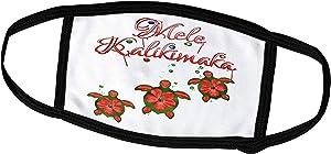 3dRose Macdonald Creative Studios – Mele Kalikimaka - Holiday Festive Colors Hawaiian Sea Turtles Mele Kalikimaka - Face Masks (fm_295395_2)