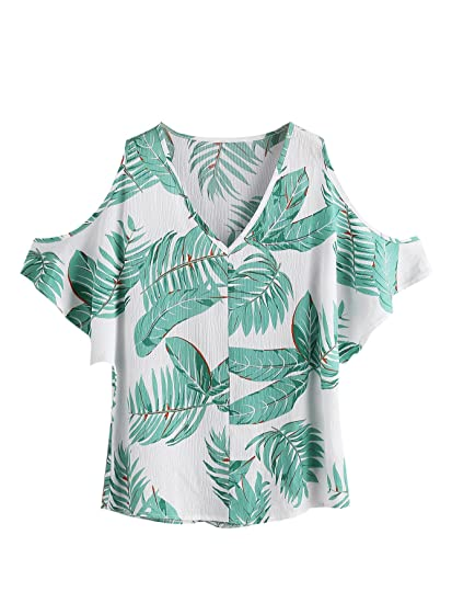 0738169a7f3678 Romwe Women s Casual Cold Shoulder V-Neck Floral Print Short Sleeve Blouse  Shirt Top Green