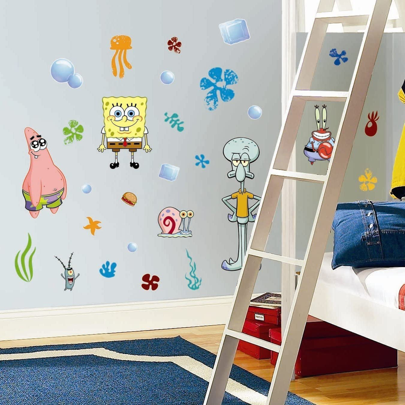 SET OF STICKERS SPONGEBOB SQUAREPANTS WALL STICKERS BOYS ROOM DECAL