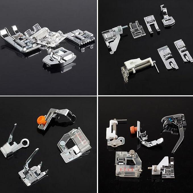 Kit de prensatelas para máquina de coser, piezas de repuesto y accesorios para máquinas Brother o Singer (Set de 32 Piezas): Amazon.es: Hogar