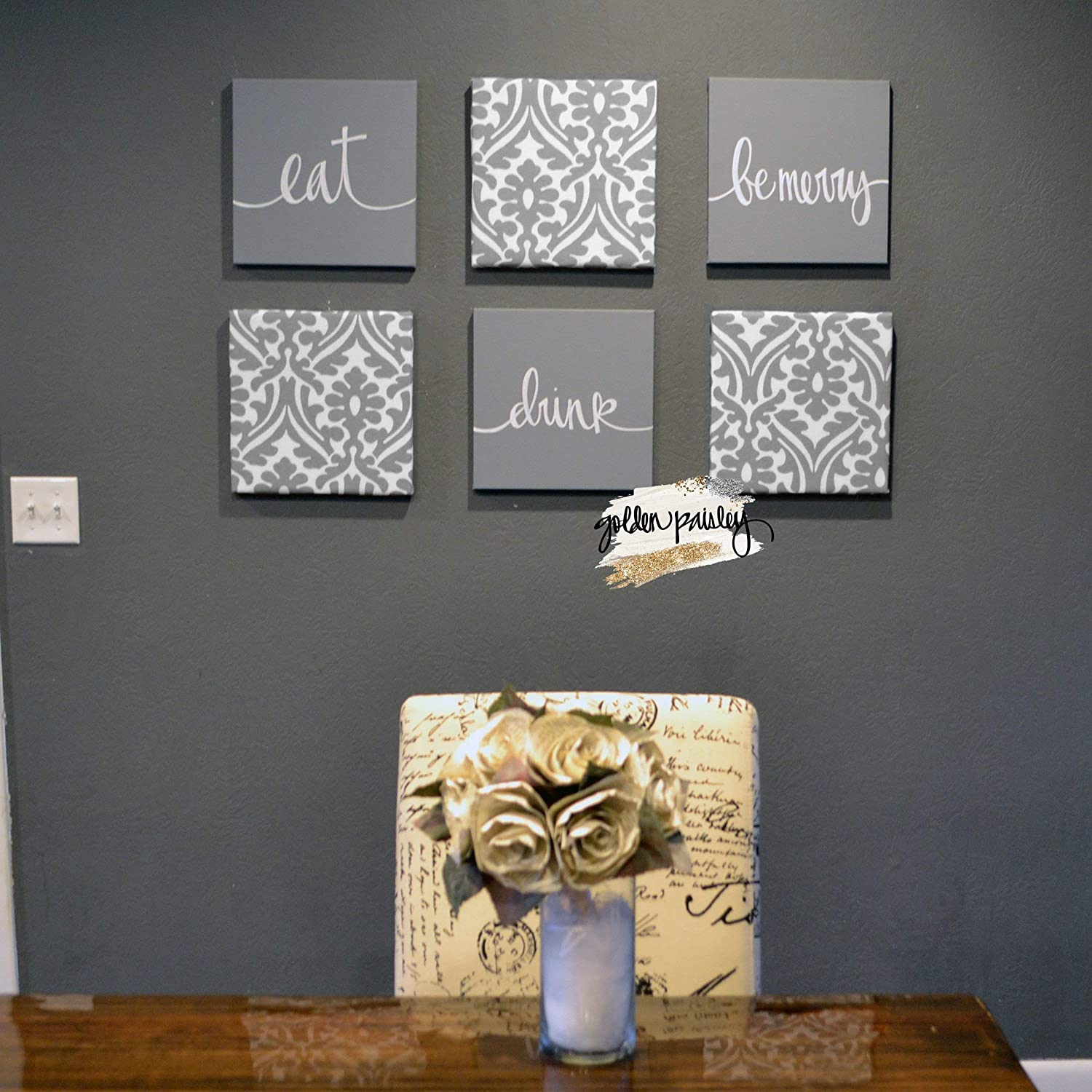 Amazon Com Gray Dining Room Wall Decor Set Eat Drink Be Merry Canvas Signs For Living Room Home Decor Handmade