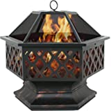 "F2C Outdoor Heavy Steel 24"" Fire Pit Wood Burning Fireplace Patio Backyard Heater Steel Firepit Bowl"