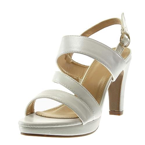 ec90d741417d3 Angkorly - Zapatillas Moda Sandalias Mules Plataforma Correa de Tobillo  Mujer Tanga Tacón Ancho Alto 10 CM  Amazon.es  Zapatos y complementos