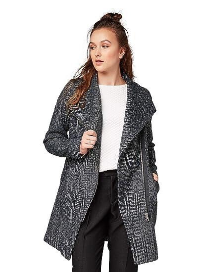 Tom Tailor Denim Damen Wollmantel Grau M Amazonde Bekleidung