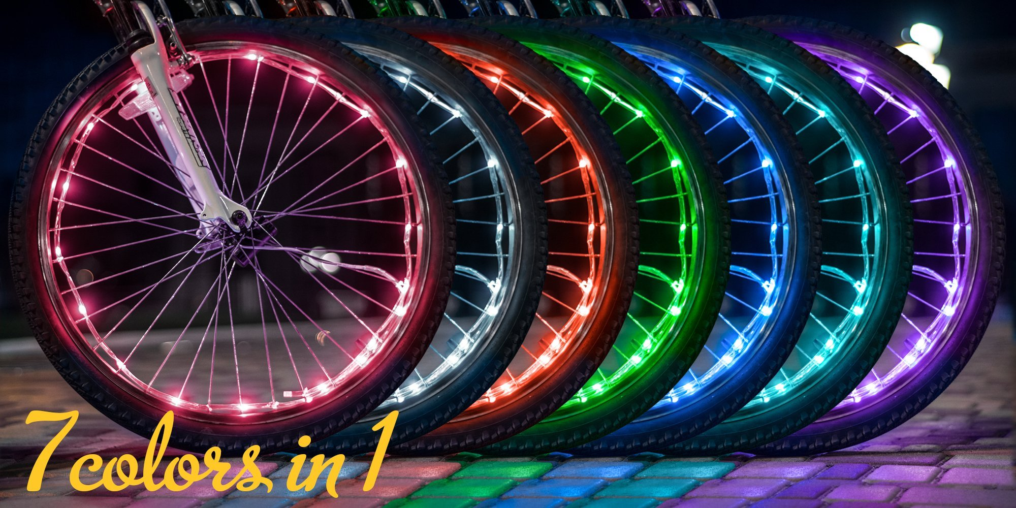 Bright Spokes Premium LED Bike Wheel Lights | 7 Colors in 1 | USB Rechargeable Battery | Strong Silicone Tube Cover | 18 Modes | Best Gift for all ages | 5, 6, 7, 8, 9 + year old boy gifts (1 Tire) by Gear Nation (Image #3)